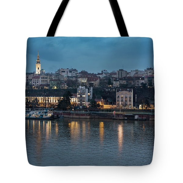 Tote Bag featuring the photograph Belgrade Skyline And Sava River by Milan Ljubisavljevic