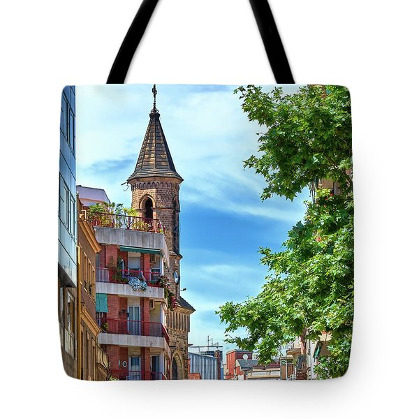 Tote Bag featuring the photograph Bell Tower And Apartments In Barcelona by Eduardo Jose Accorinti