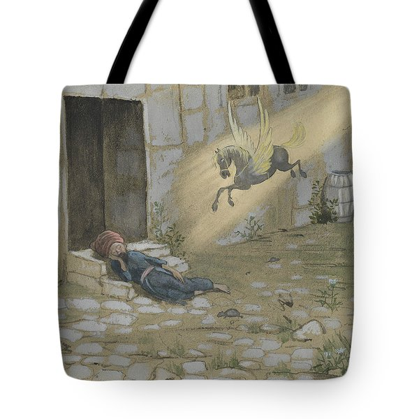 Tote Bag featuring the drawing Ben Oni, The Son Of Sorrow, The Poor And Despised by Ivar Arosenius
