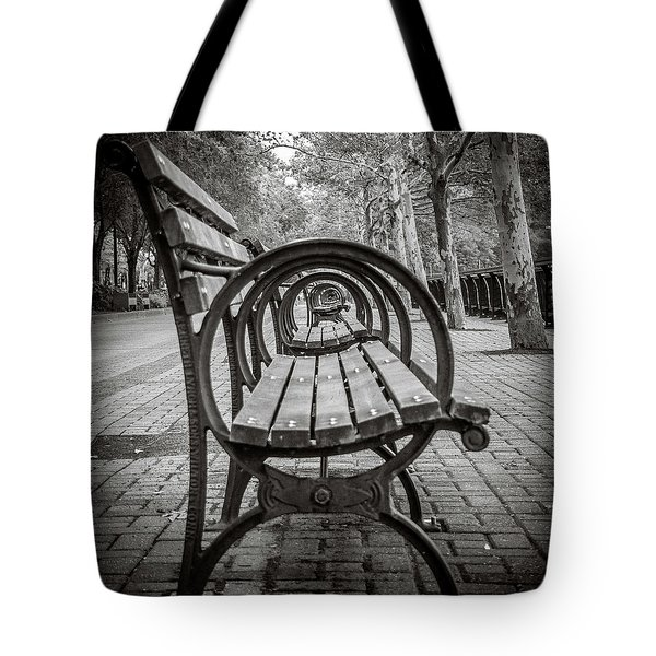 Tote Bag featuring the photograph Bench Circles by Steve Stanger