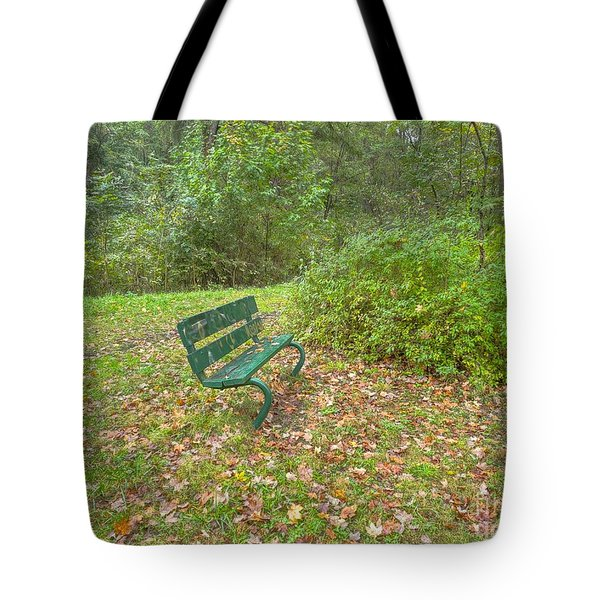 Bench Overlooking Pine Quarry Tote Bag