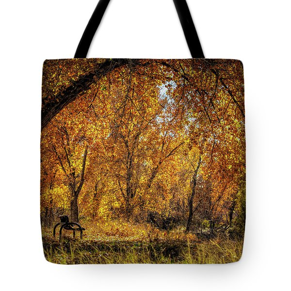 Bench With Autumn Leaves  Tote Bag