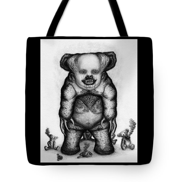 Tote Bag featuring the drawing Benjamin The Nightmare Bear Artwork by Ryan Nieves
