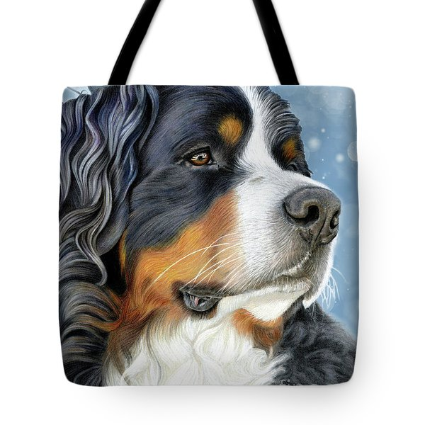 Tote Bag featuring the mixed media Bernese Arctic Blue by Donna Mulley