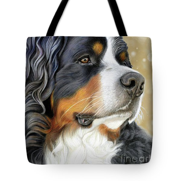 Tote Bag featuring the mixed media Bernese Old Gold by Donna Mulley