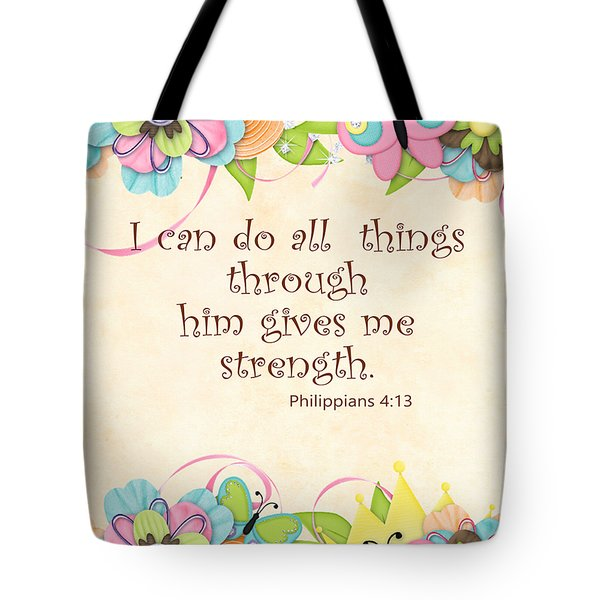 Bible Scripture On Strength Philippians Tote Bag