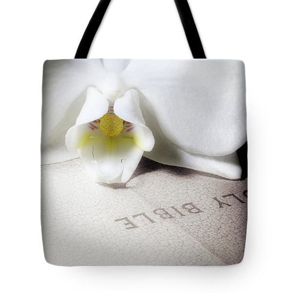 Bible With White Orchid Tote Bag
