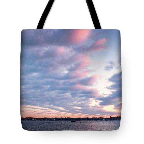 Big Sky Over Portsmouth Light. Tote Bag