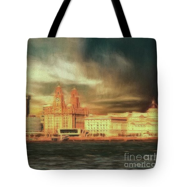 Tote Bag featuring the photograph Big Sky Over The Mersey by Leigh Kemp