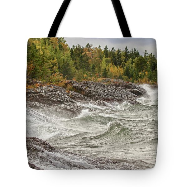 Big Waves In Autumn Tote Bag