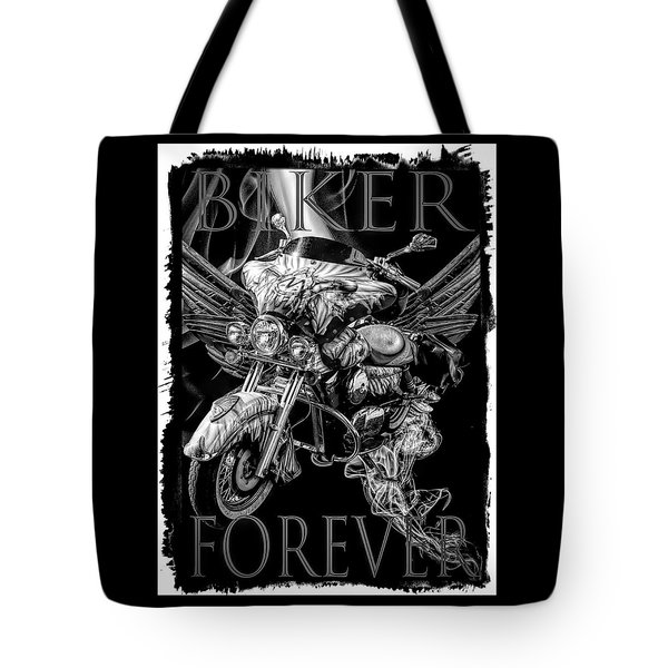 Biker Forever Bordered Black And White Tote Bag