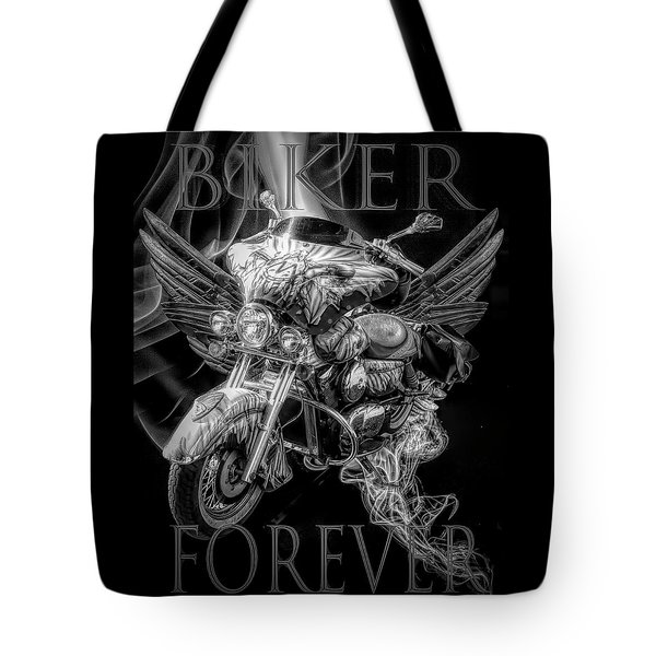 Biker Forever In Black And White Tote Bag