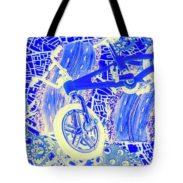 Biking Blue Tote Bag