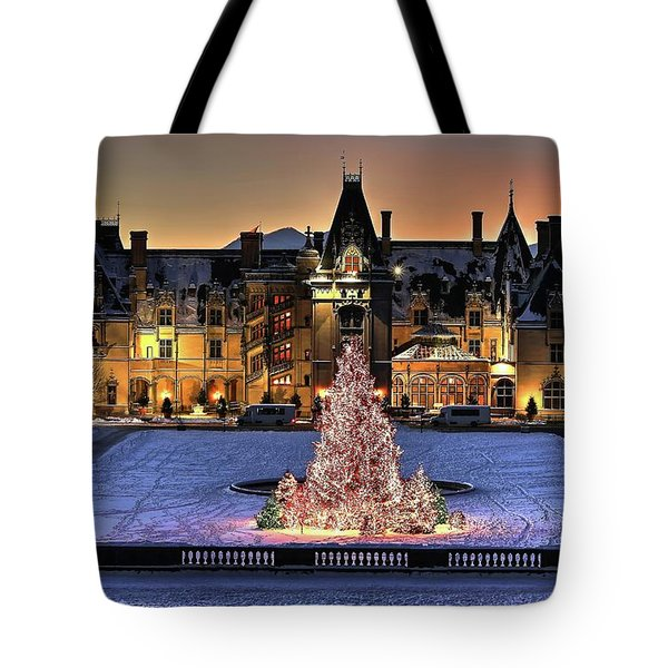 Biltmore Christmas Night All Covered In Snow Tote Bag