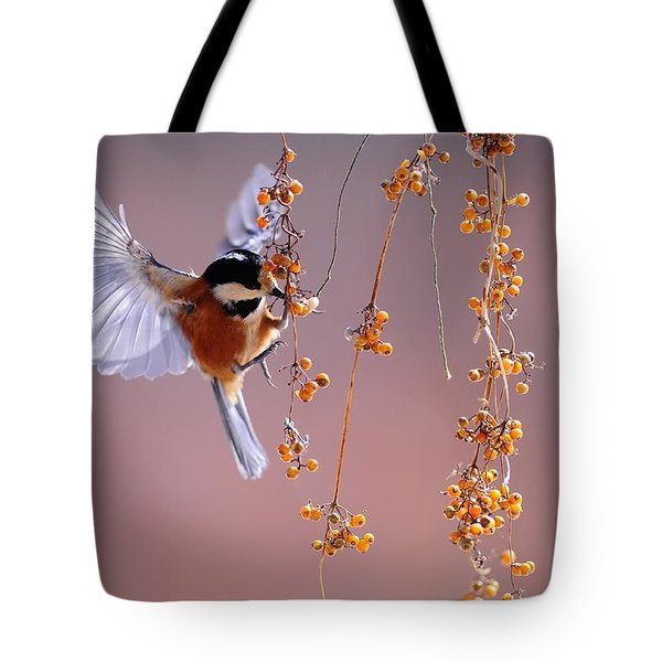 Bird Eating On The Fly Tote Bag