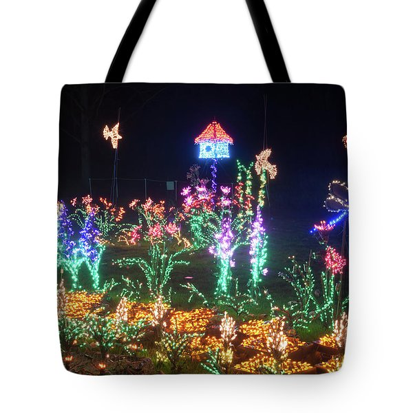 Birdhouse Garden Christmas Lights At Night Tote Bag