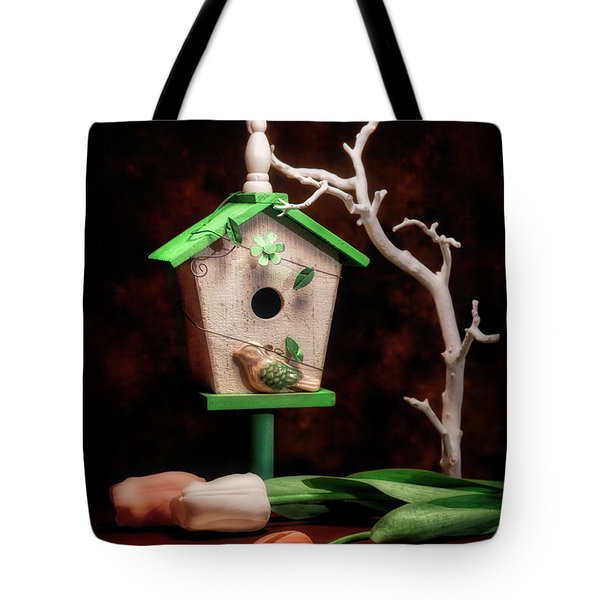 Birdhouse With Tulips Tote Bag