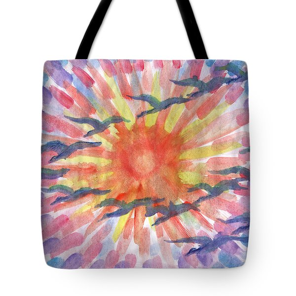 Tote Bag featuring the painting Birds Abstraction by Dobrotsvet Art