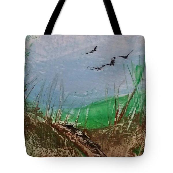 Birds Over Grassland Tote Bag