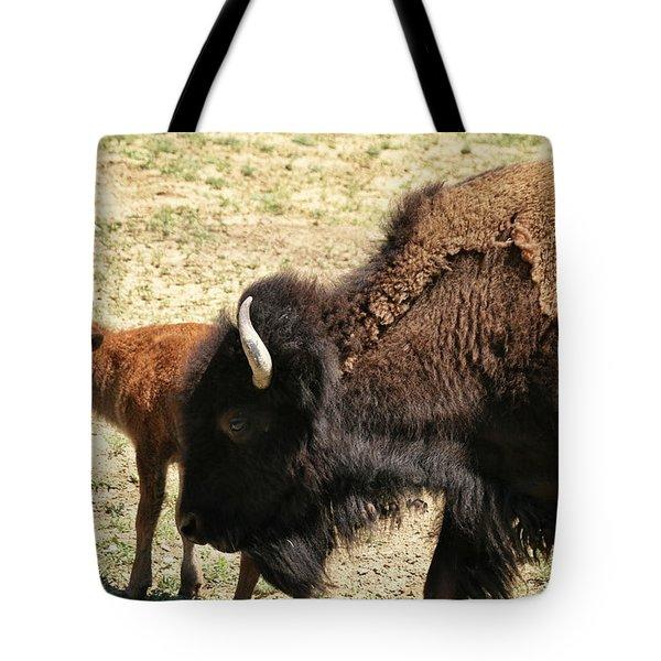 Bison In North Dakota Tote Bag