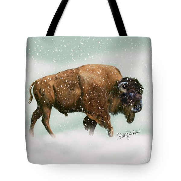 Bison In Snow Storm Tote Bag
