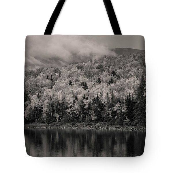 Black And White Autumn Reflections Tote Bag