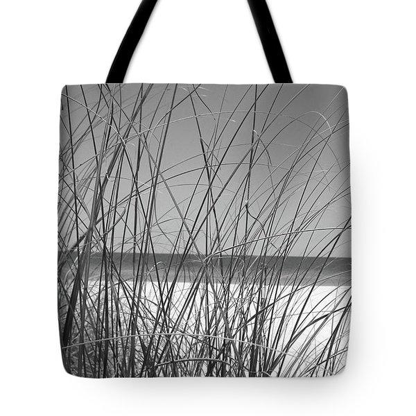 Black And White Beach View Tote Bag