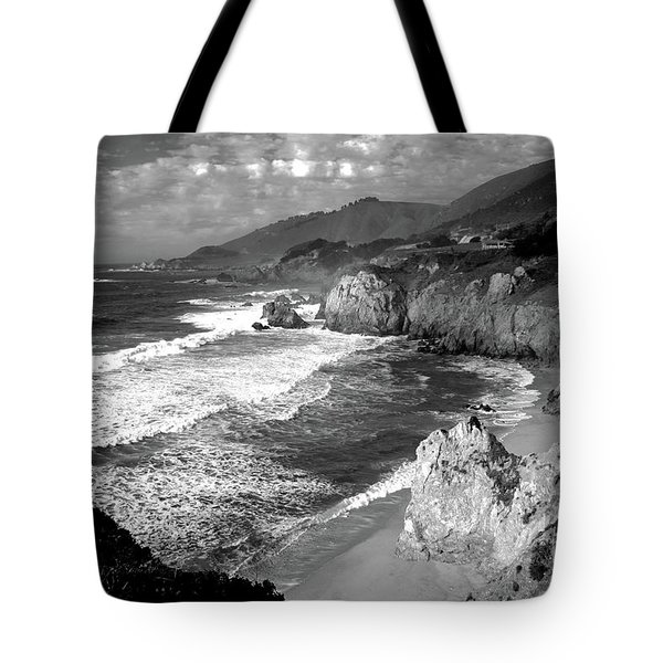 Black And White Big Sur Tote Bag
