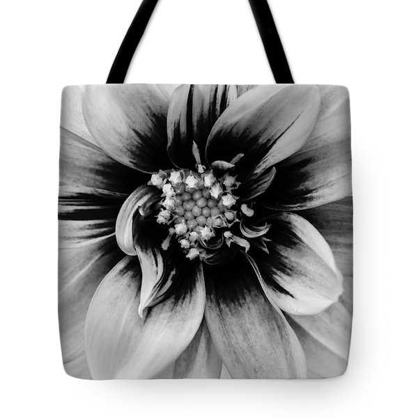 Tote Bag featuring the photograph Black And White Dahlia by Louis Dallara