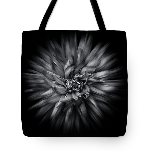 Black And White Flower Flow No 5 Tote Bag