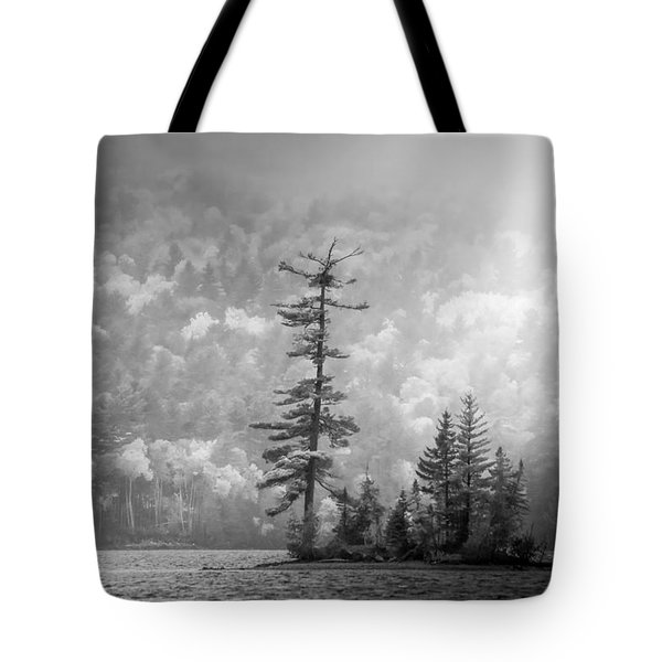 Black And White Moody Morning Moosehead Lake Tote Bag