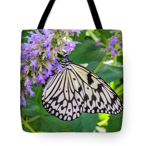 Black And White On Purple Tote Bag