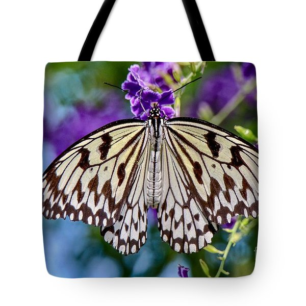 Black And White Paper Kite Butterfly Tote Bag