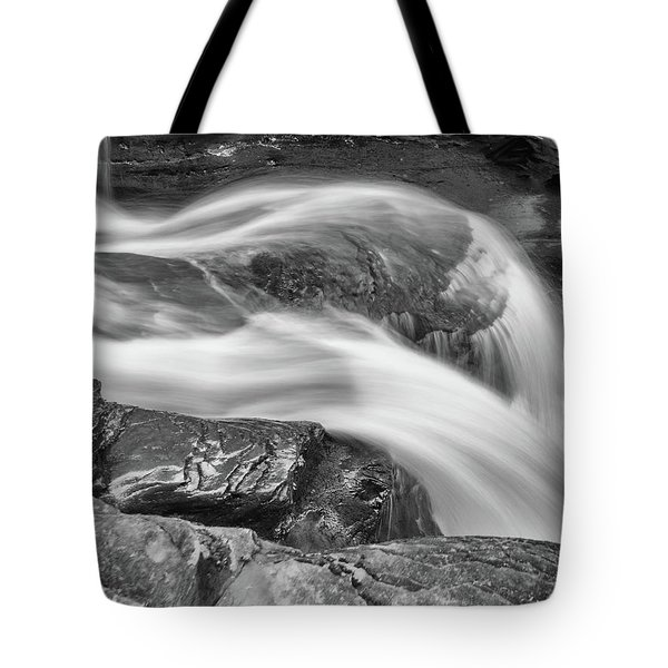 Tote Bag featuring the photograph Black And White Rushing Water by Louis Dallara