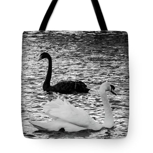 Black And White Swans Tote Bag