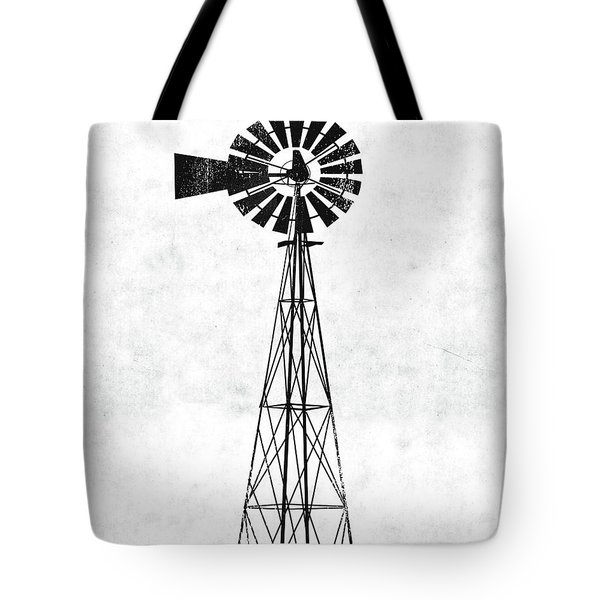 Black And White Windmill 1- Art By Linda Woods Tote Bag