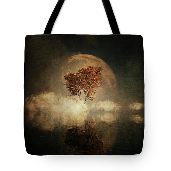 Tote Bag featuring the digital art Black Ash With Full Moon In The Mist by Jan Keteleer