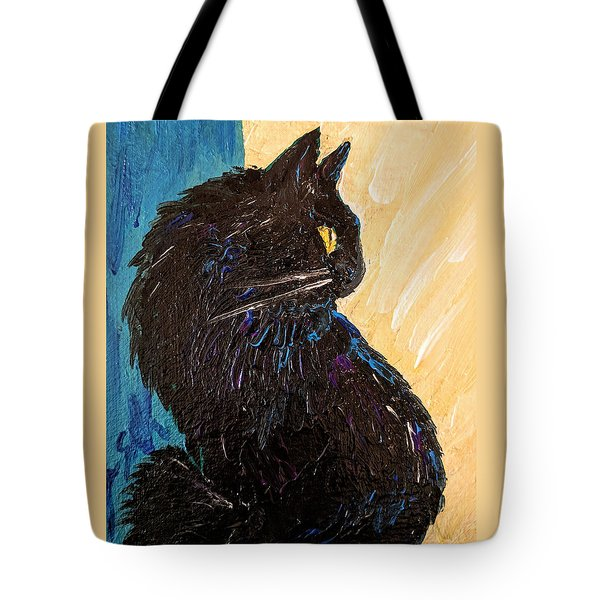Black Cat In Sunlight Tote Bag