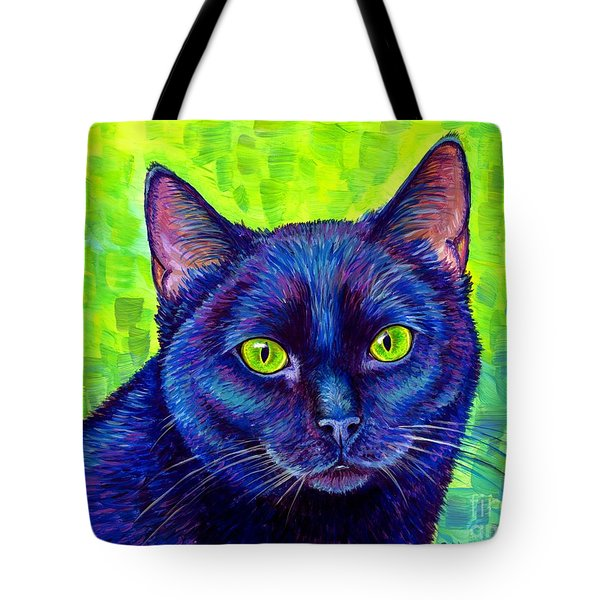 Black Cat With Chartreuse Eyes Tote Bag