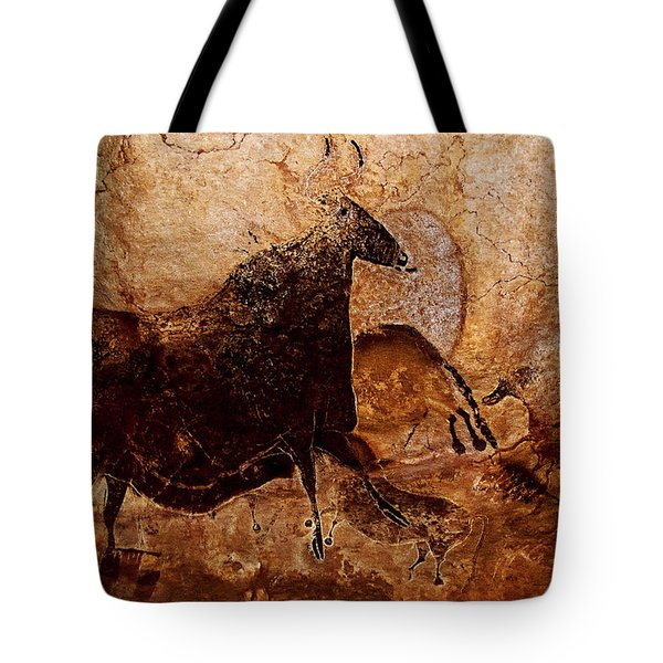 Black Cow And Horses Tote Bag