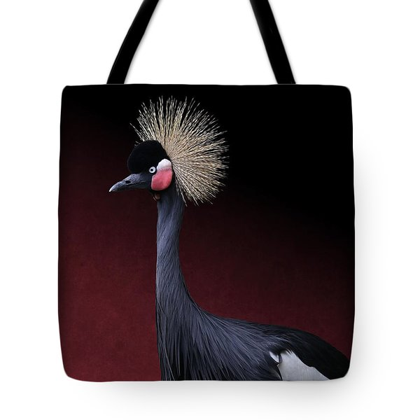 Tote Bag featuring the photograph Black Crowned Crane Photographic Portrait by Debi Dalio