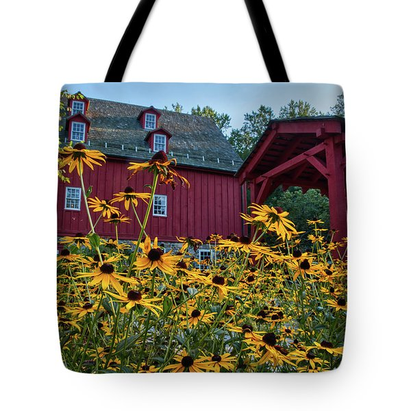 Tote Bag featuring the photograph Black Eyed Susans At The Jerusalem Mill by Mark Dodd