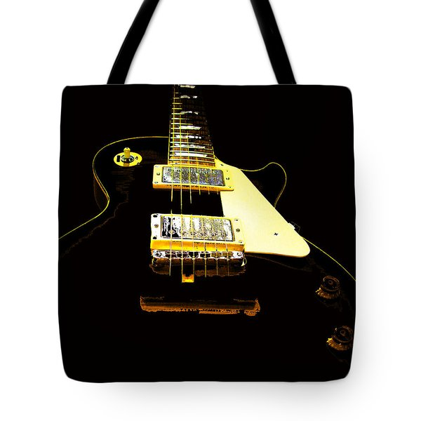 Black Guitar With Gold Accents Tote Bag