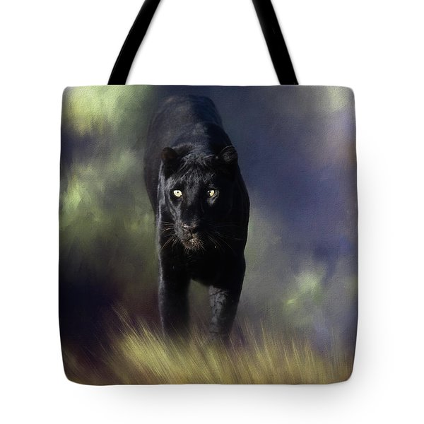 Black Leopard In The Grass Tote Bag