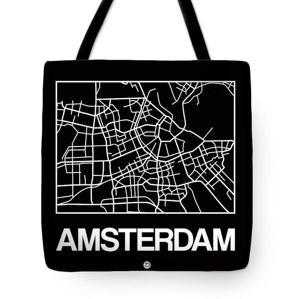 Black Map Of Amsterdam Tote Bag