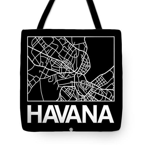 Black Map Of Havana Tote Bag
