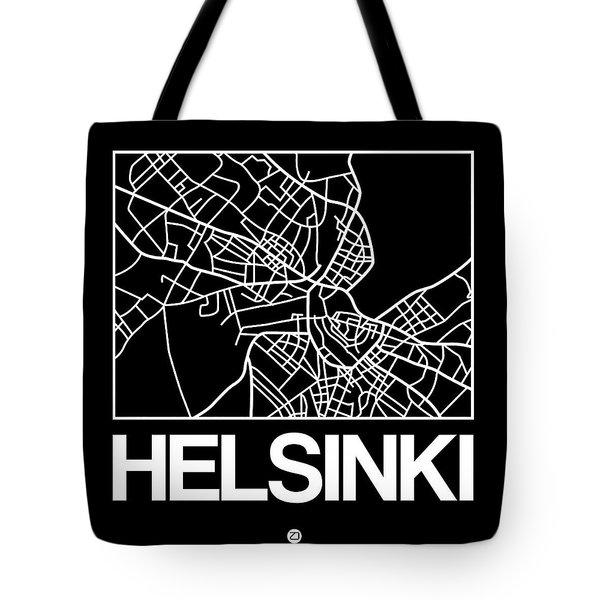Black Map Of Helsinki Tote Bag