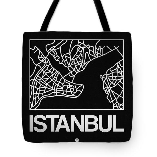 Black Map Of Istanbul Tote Bag