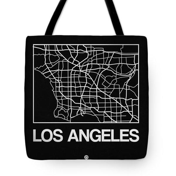 Black Map Of Los Angeles Tote Bag
