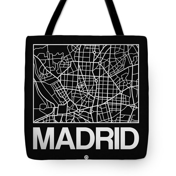 Black Map Of Madrid Tote Bag